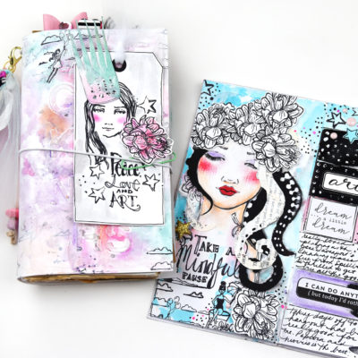 TN Cover and Art Journal Page – Spellbinders and Jane Davenport