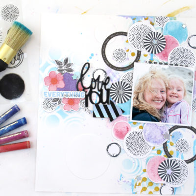 Circles and Mixed Media Layout – Vicki Boutin
