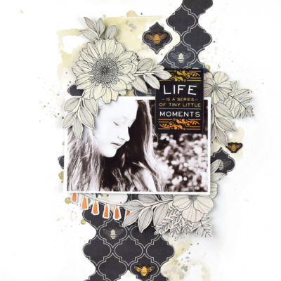 Tiny Moments Mixed Media Scrapbook Layout – Vicki Boutin