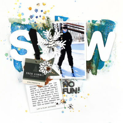 Snow Fun Mixed Media Layout using Snowflake – Crate Paper
