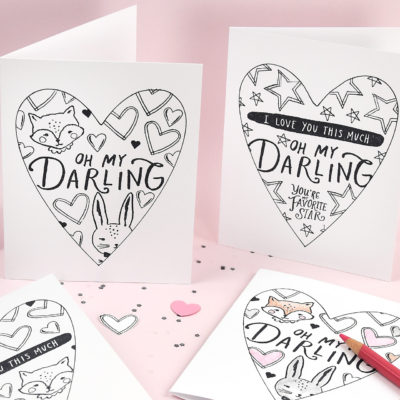 Valentine Coloring Cards – Crate Paper